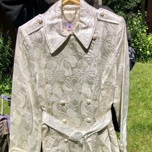 White & Silver Satin Brocade Trench Coat